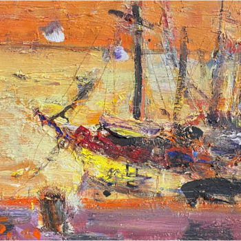 """Painting titled """"Boats II"""" by Eduard Belsky, Original Art, Oil"""