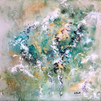 """Painting titled """"Gliding Greens"""" by Elisa Cook, Original Art, Acrylic"""