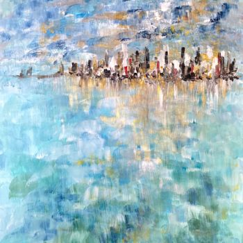 """Painting titled """"Blue Mosaic"""" by Elisa Cook, Original Art, Acrylic"""