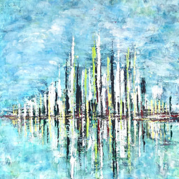 """Painting titled """"Lime Skyline"""" by Elisa Cook, Original Art, Acrylic"""