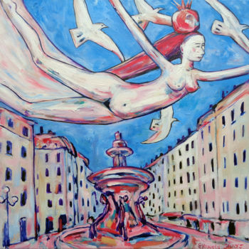 """Painting titled """"GIRL FLYING WITH WH…"""" by Elisaveta Sivas, Original Art, Oil Mounted on Stretcher frame"""