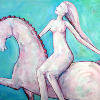 """Painting titled """"GIRL ON THE HORSE"""" by Elisaveta Sivas, Original Art, Oil Mounted on Stretcher frame"""