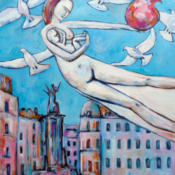 """Painting titled """"GIRL FLYING WITH BA…"""" by Elisaveta Sivas, Original Art, Oil Mounted on Stretcher frame"""