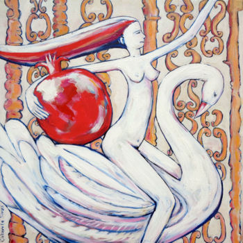 """Painting titled """"GIRL WITH SWAN BRIN…"""" by Elisaveta Sivas, Original Art, Oil Mounted on Stretcher frame"""
