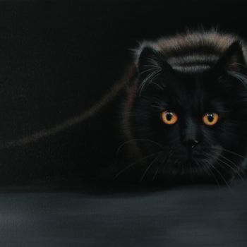 Cat Painting, acrylic, hyperrealism, artwork by Elodie Fraisse-Margat (Kalipeinture)