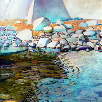 """Painting titled """"Pebbles on the beach"""" by Emilia Amaro, Original Art, Watercolor"""