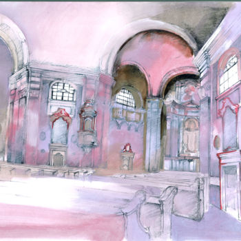 """Painting titled """"Budapest Church int…"""" by Emilia Amaro, Original Art, Watercolor"""