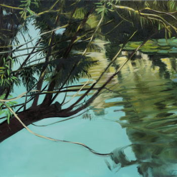 """Painting titled """"Lake in the middle…"""" by Emilia Amaro, Original Art, Oil"""