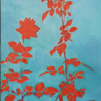 """Painting titled """"Roses shadow in red"""" by Emilia Amaro, Original Art, Oil"""