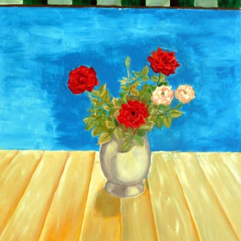 """Painting titled """"Roses in the window"""" by Emilia Amaro, Original Art, Oil"""