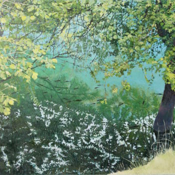 """Painting titled """"Fish are in the lak…"""" by Emilia Amaro, Original Art, Acrylic"""