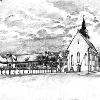 """Drawing titled """"Szeged old Cathedral"""" by Emilia Amaro, Original Art, Graphite"""