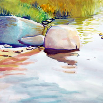 """Painting titled """"stone in the water 1"""" by Emilia Amaro, Original Art, Watercolor"""