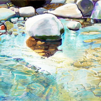 """Painting titled """"Stones are on the s…"""" by Emilia Amaro, Original Art, Watercolor"""