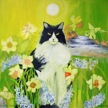 """Painting titled """"Clairvoyant Cat"""" by Fraser Maciver (1960 - 2019), Original Art, Oil"""