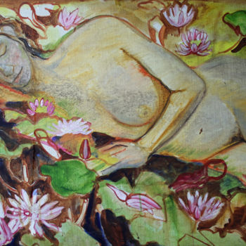 """Painting titled """"Ophelia and waterli…"""" by Fraser Maciver (1960 - 2019), Original Art, Oil"""