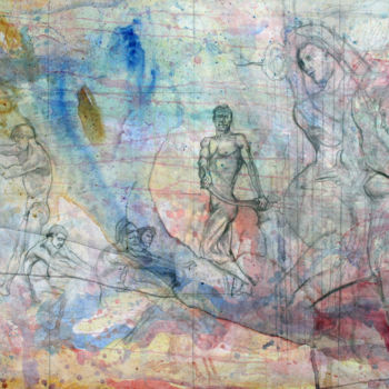 """Drawing titled """"Ulysses and the Sir…"""" by Fraser Maciver (1960 - 2019), Original Art, Watercolor"""