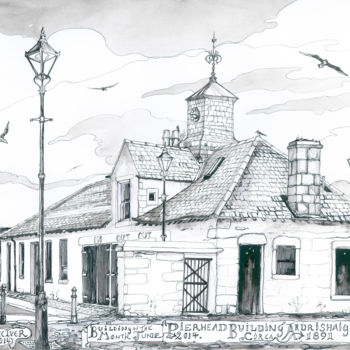 """Drawing titled """"Pierhead Building A…"""" by Fraser Maciver (1960 - 2019), Original Art, Ink"""