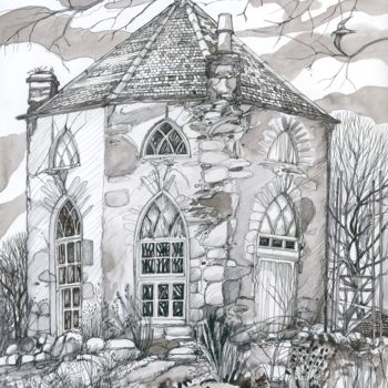 """Drawing titled """"The Gothick Dairy"""" by Fraser Maciver (1960 - 2019), Original Art, Ink"""
