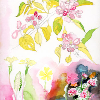"""Painting titled """"Wagon Flowers"""" by Fraser Maciver (1960 - 2019), Original Art, Watercolor"""