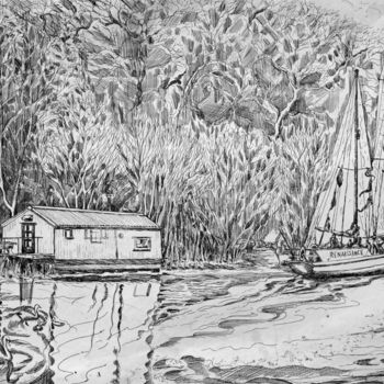 """Printmaking titled """"""""The Ark"""" and yacht…"""" by Fraser Maciver (1960 - 2019), Original Art, Etching"""