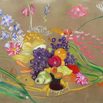"""Drawing titled """"Flowers, Fruit and…"""" by Fraser Maciver (1960 - 2019), Original Art, Charcoal"""