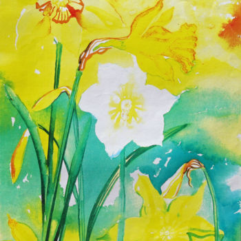 """Painting titled """"Daffodils"""" by Fraser Maciver (1960 - 2019), Original Art, Watercolor"""
