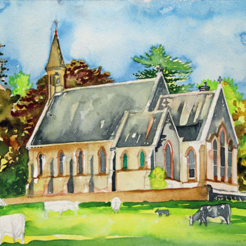 """Painting titled """"St Columba's Church…"""" by Fraser Maciver (1960 - 2019), Original Art, Watercolor"""