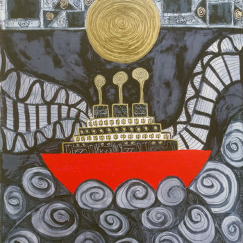 Boat Painting, acrylic, abstract, artwork by Francine Bassetto