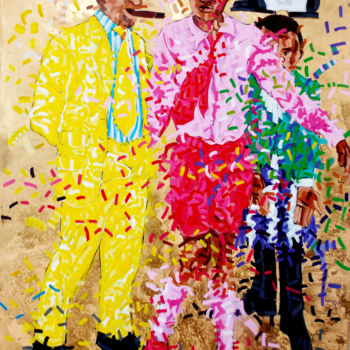 """Painting titled """"les sapeurs"""" by Frederic Kuku, Original Art,"""