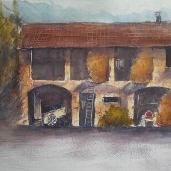 """Painting titled """"the farm"""" by Giorgio Gosti, Original Art, Watercolor"""