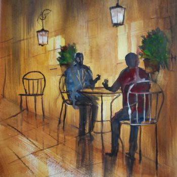 Painting, watercolor, expressionism, artwork by Giorgio Gosti