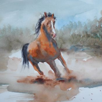 """Painting titled """"horse 3"""" by Giorgio Gosti, Original Art, Watercolor"""