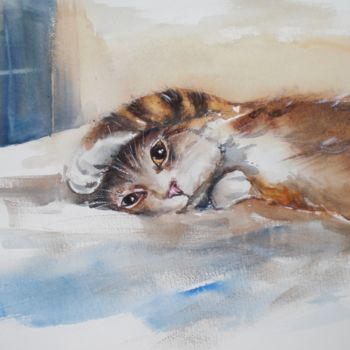 """Painting titled """"kitty"""" by Giorgio Gosti, Original Art, Watercolor"""