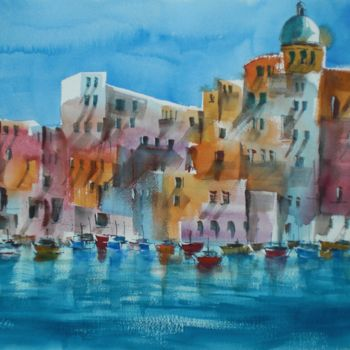 """Painting titled """"fishing village"""" by Giorgio Gosti, Original Art, Watercolor"""