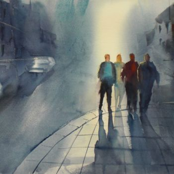 """Painting titled """"an imaginary city 5"""" by Giorgio Gosti, Original Art, Watercolor"""