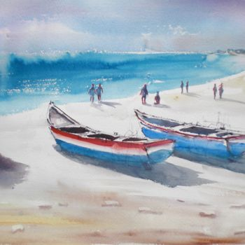 """Painting titled """"boats 5"""" by Giorgio Gosti, Original Art, Watercolor"""