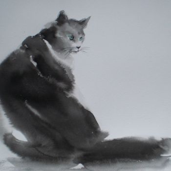 """Painting titled """"angry cat"""" by Giorgio Gosti, Original Art, Ink"""
