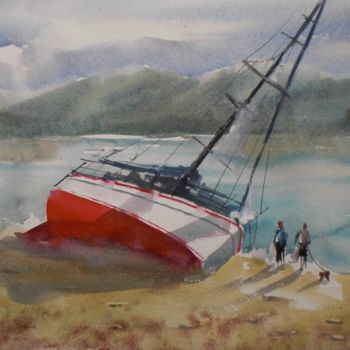 Boat Painting, watercolor, expressionism, artwork by Giorgio Gosti