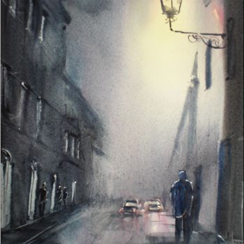 """Painting titled """"walking in the night"""" by Giorgio Gosti, Original Art, Watercolor"""