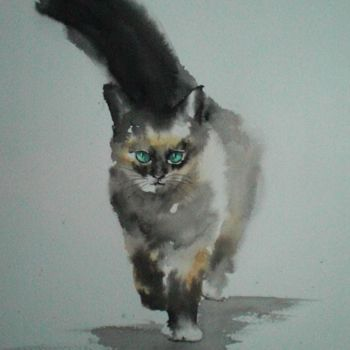 Cat Painting, ink, expressionism, artwork by Giorgio Gosti