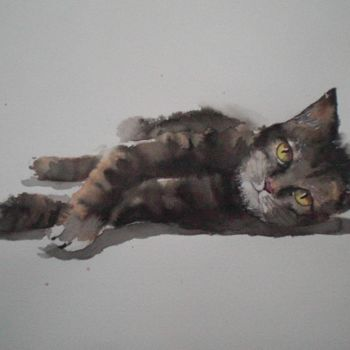 """Painting titled """"lying cat 2"""" by Giorgio Gosti, Original Art, Ink"""