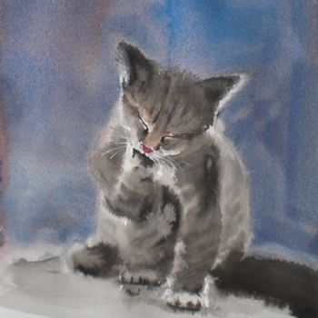 """Painting titled """"kitten 3"""" by Giorgio Gosti, Original Art, Watercolor"""