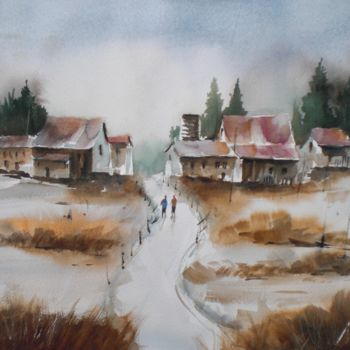 """Painting titled """"the path 2"""" by Giorgio Gosti, Original Art, Watercolor"""