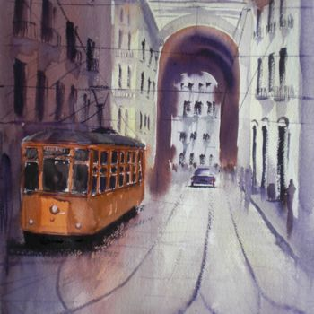 """Painting titled """"tram in Milan"""" by Giorgio Gosti, Original Art, Watercolor"""