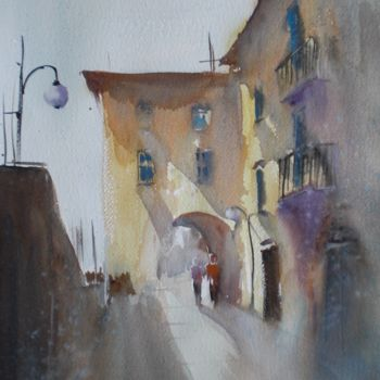 """Painting titled """"walking in a villag…"""" by Giorgio Gosti, Original Art, Watercolor"""
