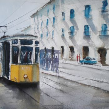 """Painting titled """"tram in Milan 6"""" by Giorgio Gosti, Original Art, Watercolor"""
