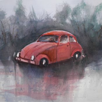 """Painting titled """"beetle car 2"""" by Giorgio Gosti, Original Art, Watercolor"""