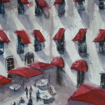 """Painting titled """"red awnings"""" by Giorgio Gosti, Original Art, Watercolor"""
