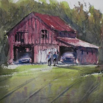 """Painting titled """"old barn 3"""" by Giorgio Gosti, Original Art, Watercolor"""